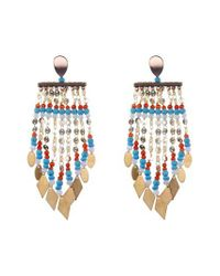 Nakamol - Blue Long Beaded Metal Fringe Earrings - Lyst