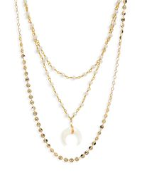 Panacea - Metallic Horn Pendant Triple Row Necklace - Lyst