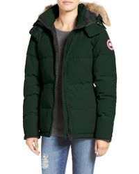 Canada Goose - Green 'chelsea' Slim Fit Down Parka With Genuine Coyote Fur Trim - Lyst