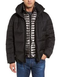 Andrew Marc - Black Quilted Down Jacket W/ Hoodie for Men - Lyst