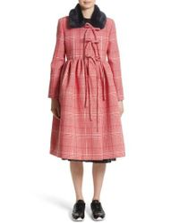 Shrimps | Red Stuart Plaid Wool Coat With Faux Fur Collar | Lyst