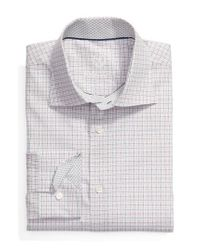 Bugatchi | White Trim Fit Check Dress Shirt for Men | Lyst