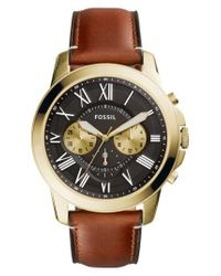 Fossil | Multicolor Grant Leather Strap Watch for Men | Lyst