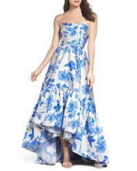 Mestiza New York - Blue Mestiza Georgiana Floral High/low Strapless Gown - Lyst