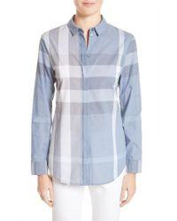 Burberry | Blue Check Print Cotton Shirt | Lyst