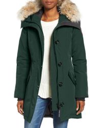 Canada Goose - Green Rossclair Genuine Coyote Fur Trim Down Parka - Lyst