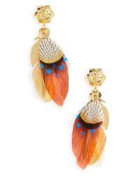 Gas Bijoux - Blue Small Sao Feather Earrings - Lyst