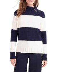 J.Crew - Blue 1988 Stripe Roll Neck Sweater - Lyst