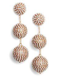 Tasha - Metallic Crystal Ball Drop Earrings - Lyst