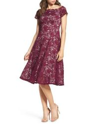 Adrianna Papell   Purple Lace Fit & Flare Dress   Lyst