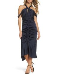Keepsake - Blue Dark Paradise Strappy Back Ruched Midi Dress - Lyst