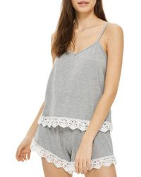 TOPSHOP - Gray Crochet Trim Pajama Camisole - Lyst