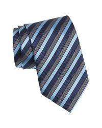 Ermenegildo Zegna - Blue Stripe Silk Tie for Men - Lyst