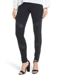 Two By Vince Camuto - Black Faux Leather Chevron Panel Ponte Leggings - Lyst