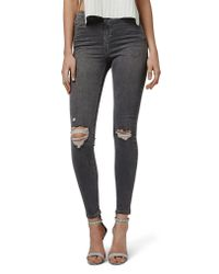 TOPSHOP - Gray Jamie Ripped Skinny Jeans - Lyst