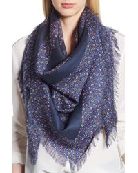Tory Burch - Blue Wild Pansy Logo Square Scarf - Lyst
