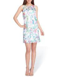 Tahari - Blue Soutache Sleeveless Shift Dress - Lyst