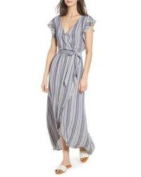 Splendid Multicolor Chambray Stripe Wrap Dress