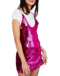 Free People - Pink Seeing Double Sequin Slipdress - Lyst