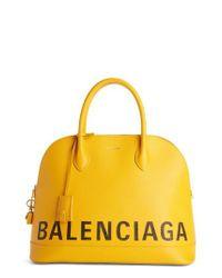 Balenciaga - Yellow Medium Logo Leather Satchel With Water-repellent Coat - Lyst