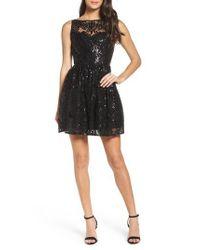 BB Dakota - Black Tate Sequin Fit & Flare Dress - Lyst