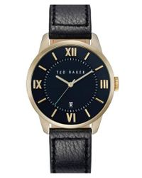 Ted Baker - Black Round Leather Strap Watch for Men - Lyst
