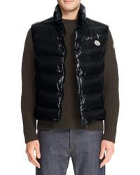 Moncler | Black Tib Lacquered Down Vest for Men | Lyst