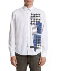 Versace Jeans | White Houndstooth Print Sport Shirt for Men | Lyst