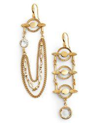 Badgley Mischka - Metallic Asymmetrical Drop Earrings - Lyst