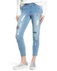 Hue - Blue Patched Distressed Denim Skimmer Leggings - Lyst
