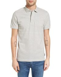 French Connection | Gray Menon Block Stripe Polo for Men | Lyst