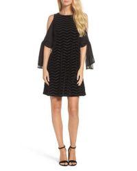 Taylor Dresses - Black Chiffon Sleeve Velvet Burnout Shift Dress - Lyst
