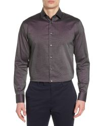 Calibrate - Gray Trim Fit Non-iron Stretch Solid Dress Shirt for Men - Lyst