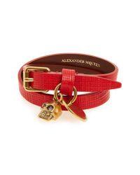 Alexander McQueen - Red Skull Charm Leather Wrap Bracelet - Lyst