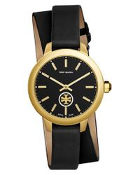 Tory Burch - Multicolor Collins Double Wrap Leather Strap Watch - Lyst