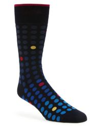 Bugatchi - Blue Dot Crew Socks for Men - Lyst