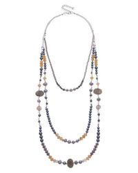 Nakamol - Metallic Cultured Pearl & Imitation Pearl Triple Strand Necklace - Lyst
