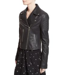Proenza Schouler | Black Pebbled Leather Moto Jacket | Lyst