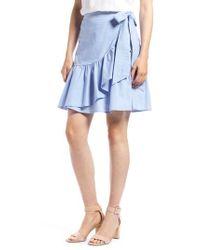 Nordstrom - Blue 1901 Ruffle Chambray Miniskirt - Lyst