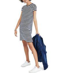 Madewell - Blue Stripe Velour T-shirt Dress - Lyst