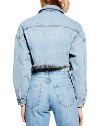 TOPSHOP Blue Cropped Denim Jacket