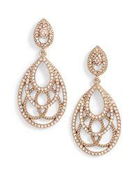 Jenny Packham - Metallic Openwork Crystal Drop Earrings - Lyst
