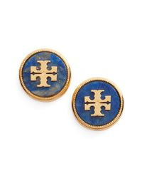 Tory Burch - Blue Semiprecious Stone Stud Earrings - Lyst