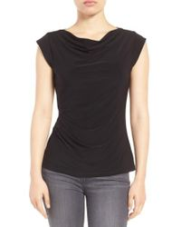 Anne Klein - Black Cowl Neck Shell Top - Lyst