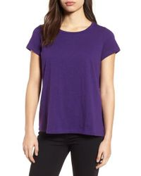 Eileen Fisher - Purple Organic Cotton Tee - Lyst
