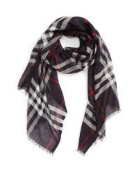 Burberry - Blue Giant Check Print Wool & Silk Scarf - Lyst