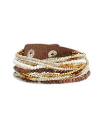 Nakamol - Brown Beaded Wrap Bracelet - Lyst