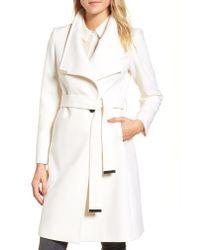 Ted Baker - White Wool Blend Long Wrap Coat - Lyst