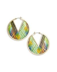 Vince Camuto - Metallic Inlaid Leather Click Top Hoop Earrings - Lyst