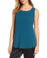 Eileen Fisher - Blue Ballet Neck Silk Tank - Lyst